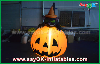 China Durable Halloween Inflatable Holiday Decorations Pumpkin Cat With Led Lighting supplier