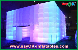 China Outdoor PVC Coated Giant Cube Inflatable Tent With Color Change Light / Air Blower supplier