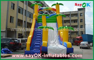 China Funny / Safety PVC Tarpaulin Inflatable Bouncer Slide Yellow / Blue Color For Playing supplier