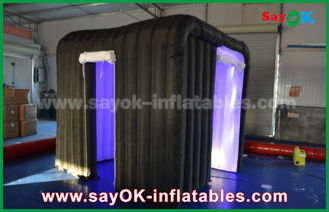 China Black Two Doors Customize Inflatable Event Photo Booth With Rgb Led Lighting supplier