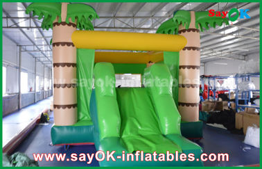 China Customize Coconut Tree Green Inflatable Bouncer House For Playing supplier