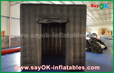 China 2 Doors Inflatable Photo Booth With LED Light Oxford Cloth 2.5m  Black supplier