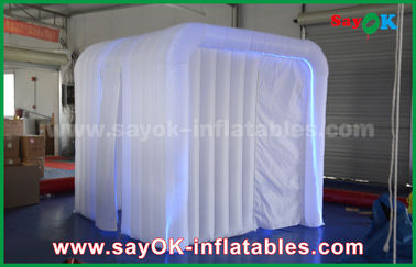 China White Inflatable Event Photo Booth with RGB Led Light / Two Doors supplier