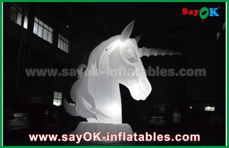 China Full White Oxfiord Cloth Inflatable Horse Unicorn With LED Light supplier
