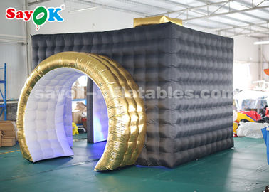 Durable LED Black Inflatable Photo Booth For Party Wedding Double Stitching