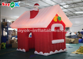 China SGS ROHS Inflatable Christmas Santa Claus House Red + White Color supplier