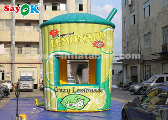 China 5m High PVC Inflatable Lemonade Stand Booth With Blower For Business supplier