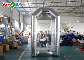 China Silver Cube Inflatable Money Cash Booth Machine For Company Opening supplier
