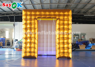 China 2.5M Golden Inflatable LED Air  Photo Booth With  Colored Lights SGS  ROHS supplier