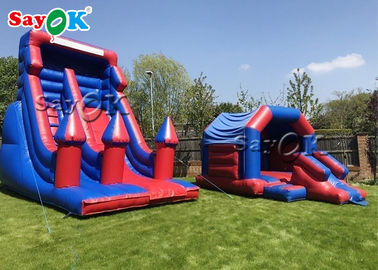Custom Kids Inflatable Bounce House Blue And Purple Inflatable Jumping Bouncer