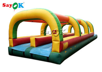 China Custom Size Inflatable Water Slide Double Lane Slip And Slide With Pool supplier