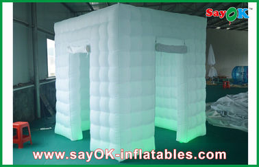 China 2 Doors Inflatable Photo Booth LED Light 2.4m Color Changed With Blower supplier