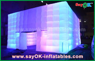 Outdoor PVC Coated Giant Cube Inflatable Tent With Color Change Light / Air Blower