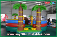 China 0.55mm PVC Tarpaulin Inflatable Bouncer Slide / Pool With Coconut Tree Anti - UV factory