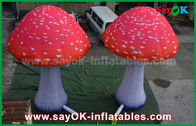 China Custom Inflatable Products Red Oxford Cloth Mushroom With Built - In Blower factory
