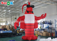 China 4m Red Outdoor Crawfish Inflatable Cartoon Characters For Lobster Festival factory