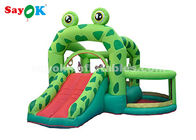 China Cute Green Frog Inflatable Bouncer Castle With Slide For Kids Party factory