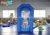 China Cube Blue Inflatable Money Machine Booth With Air Blower For Advertising factory