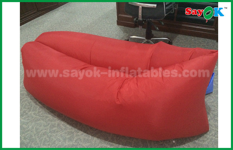Red Beach Hangout Inflating Sofa / Rip   Stop Nylon Inflatable Sofa Bed CE