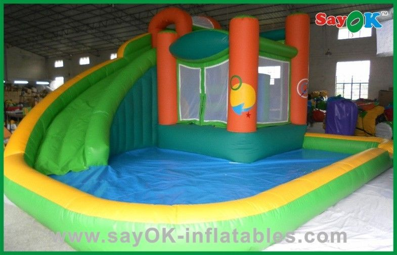 China Commercial Inflatable Bounce House With Water Slide , Air Blown  Inflatables Supplier