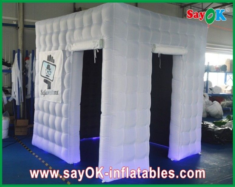 white photo booth enclosure led lights for wedding party