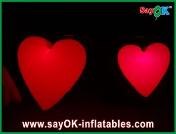 Lovely Big Red Inflatable Heart With Led Lights For Festival , Diameter 1.5M