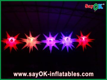 Versatile Stage Decoration Led Lighting Inflatable Star For Event , Red / Blue