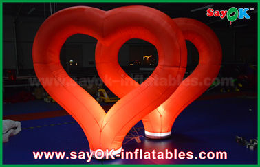 China Wedding Outdoor Inflatable Decorations Red Nylon Inflatable Heart With LED Light factory