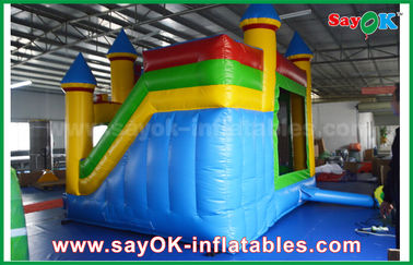 Children Blue / Yellow Commercial Inflatable Bounce House With Slide 3 Years Warranty