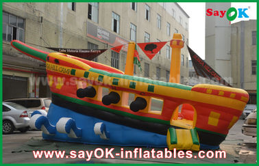 Yellow / Red / Blue Inflatable Pirate Ship Commercial Advertising Castle Bounce House