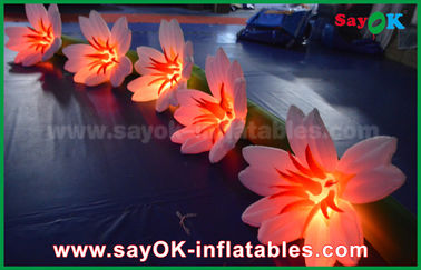 China White Lily Flower Chain Outdoor Inflatable Decorations Oxford Cloth For Wedding factory