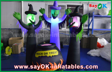 210D Oxford Cloth Inflatable Scary Ghosts and Magic Jar with LED Lighting for Halloween
