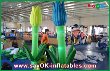 Oxford Cloth Custom Inflatable Products , LED Inflatable Double Flower For Stage Decoration