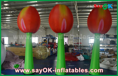 Giant Red Inflatable Double Flower For Stage Decoration With LED Light