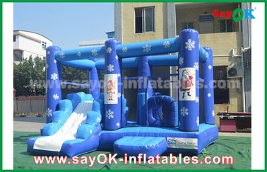 Customized 0.55mm PVC Tarpaulin Inflatable Bouncy Castle Frozen Obstacle Course For Children