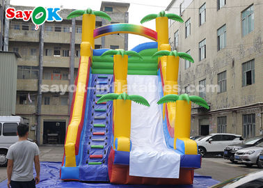 8*4*7m PVC Coconut Tree Inflatable Bouncer Slide With Two Air Blower For Kids