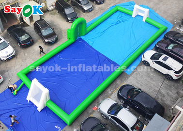 Green Color PVC Commercial Inflatable Soccer Field 20*8m 2 Years Warranty