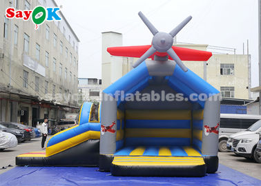 0.4mm PVC Tarpaulin Inflatable Jump And Slide Bouncer With Airplane For Kids