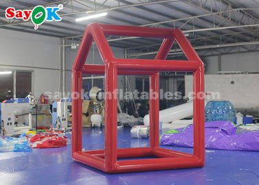 China Red Custom Inflatable Products  ,  0.6mm PVC Tarpaulin Cube Inflatable Photo Booth Frame For Advertising factory