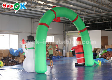China Outdoor Inflatable Holiday Decorations Santa Archway Door With Blower factory