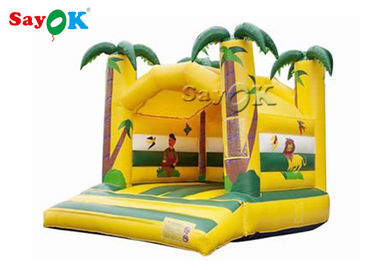China Jungle Animal Theme Yellow Inflatable Bouncy Castle With Digital Printing factory