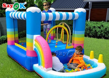 China Blue 0.55mm PVC Tarpaulin Inflatable Body Bouncers / Blow Up Trampoline Bouncer factory