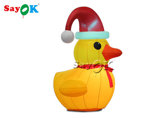 Oxford Cloth Outdoor Decoration 2m Inflatable Christmas Duck With Hat