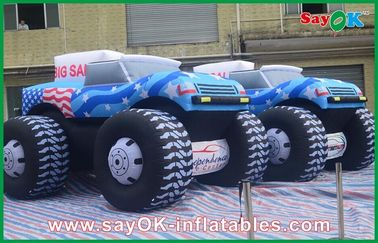 Blue 5M Inflatable Jeep Car 210D Oxford Cloth For Adversting