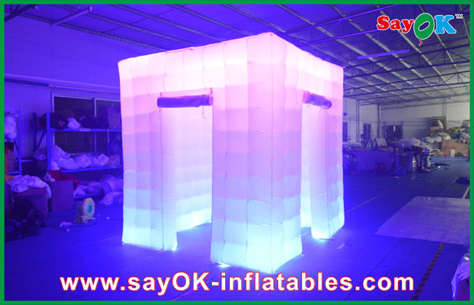 2 Opening Door Cube Light Inflatable Photo Booth With Top Led