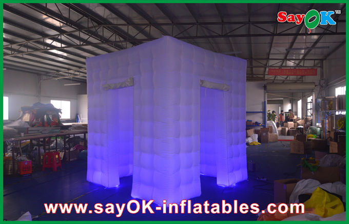 Purple Cube Inflatable Photo Booth Tent 2 Doors Bottom Led