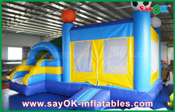 Small 4x3m Inflatable PVC Bounce Castle Slider With Football Decoratiionn