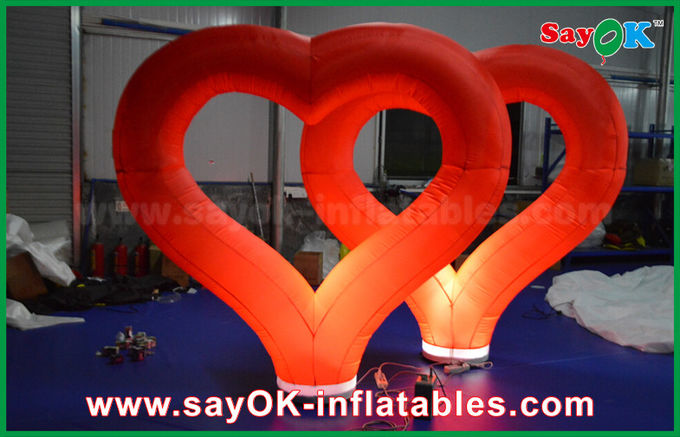 Wedding Outdoor Inflatable Decorations Red Nylon Inflatable Heart With LED Light