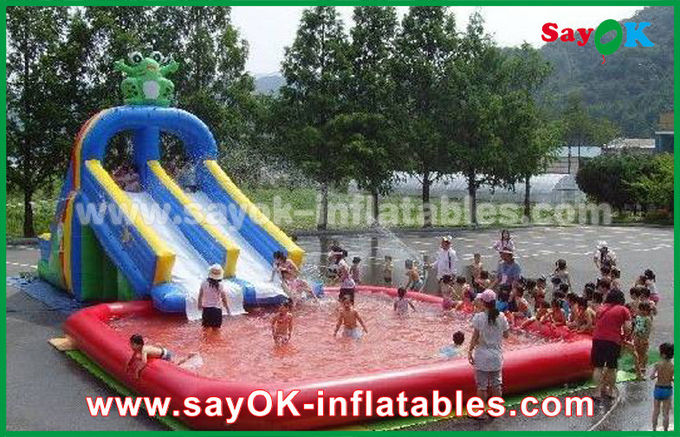 Funny / Safety PVC Tarpaulin Inflatable Bouncer Slide Yellow / Blue Color For Playing