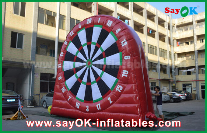 Funny Red Inflatable Sports Games / Durable PVC Tarpulin Inflatable football Dart Board